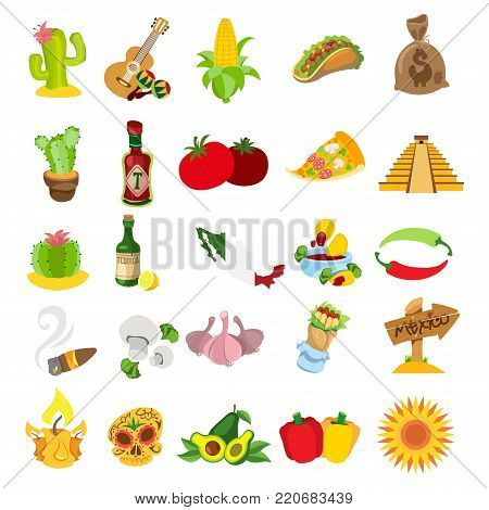 Set of mexican icons isolated on white background.