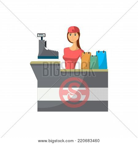 Supermarket store counter desk with cashier icon in flat style. Shopping in supermarket, retail and distribution vector illustration.