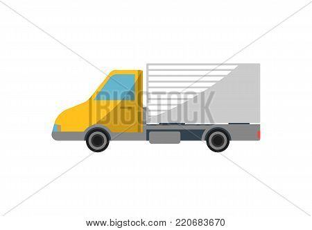 Commercial freight truck isolated icon. Modern lorry truck, vehicle for cargo transportation, trucking and delivery service vector illustration