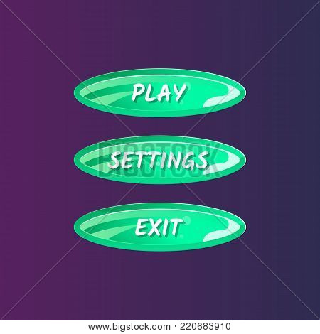 Green oval options panel for user interface. Play, settings and exit cartoon buttons. Bright design isolated vector illustration