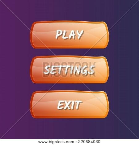 Orange options selection windows set in cartoon style. Play, settings and exit buttons. Bright user game design isolated vector illustration