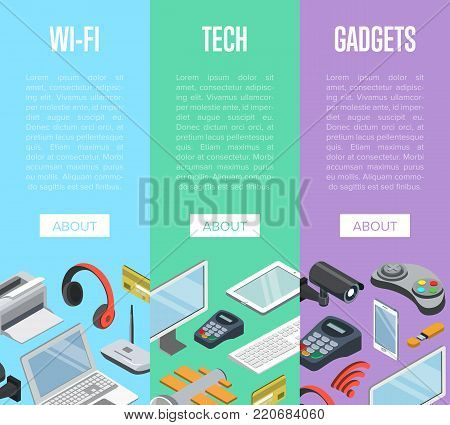 Wireless gadgets and computer devices isometric posters with laptop, tablet PC, usb drive, gamepad, headphones, wifi router, pos terminal. Modern technology and communication vector illustration. poster