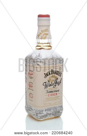 IRVINE, CA - JANUARY 4, 2018: Winter Jack Tennessee Cider. A seasonal blend of apple cider liqueur, Jack Daniel's Old No. 7 Tennessee Whiskey and holiday spices