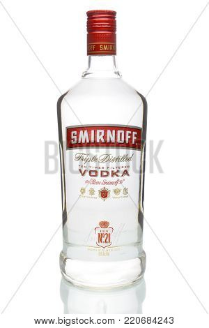 IRVINE, CA - JANUARY 4, 2018: Smirnoff Vodka Bottle. The Smirnoff brand began with a vodka distillery founded in Moscow by Pyotr Arsenievich Smirnov.