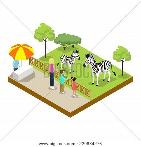 Cage with zebras isometric 3D icon. Public zoo with wild animals and people, zoo infrastructure element for design vector illustration.
