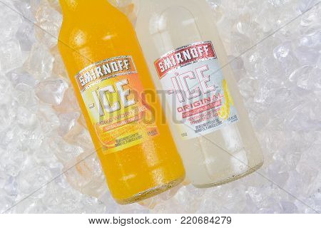 IRVINE, CA - JANUARY 4, 2018: Smirnoff Ice Original and Screwdriver. The Original Premium Flavored Malt Beverage with a delightfully crisp, citrus taste.