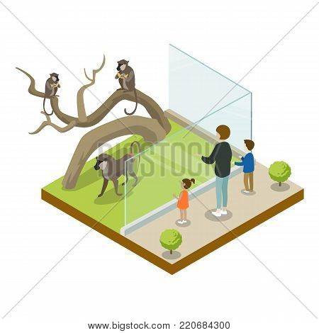 Cage with monkeys isometric 3D icon. Public zoo with wild animals and people, zoo infrastructure element for design vector illustration.