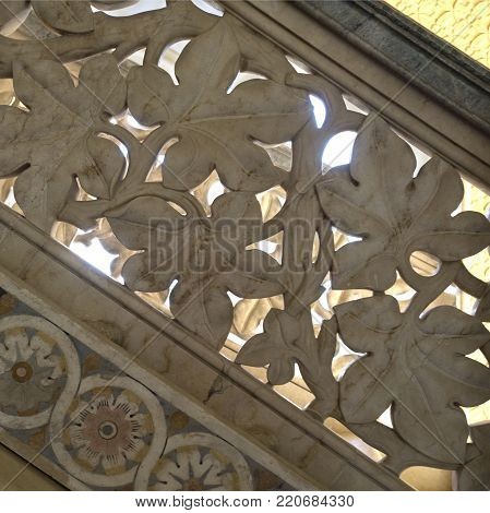 MONSERRATE, PORTUGAL - October 3, 2017: Vine leaf motif on the balustrade of the imposing staircase of the Monserrate Palace, an exotic palatial villa located near Sintra, Portugal