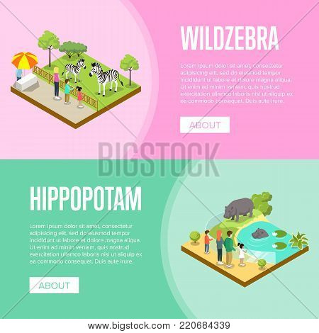 Public zoo with wild animals and visitors isometric posters. People near cages with zebras and hippopotamus vector illustration. Zoo infrastructure elements for landscape design, wildlife concept.