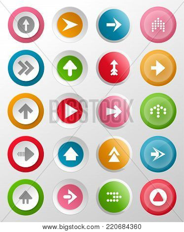 Round buttons with arrow symbols. Circle interface navigation elements for web design or mobile application isolated on white background vector illustrations. Left, right, up or down signs collection.