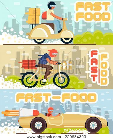 Fast food and pizza delivery horizontal banners with cityscape on background. Couriers with pizza boxes on scooter, bicycle and sport car. Online order food and delivery to door vector illustration