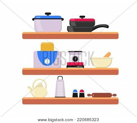 Kitchen wooden shelves with utensils. Shelves with cooking tools and hanging pots. Interior of kitchen shelf, utensil and equipment for kitchen. Element for culinary brochure. Flat vector illustration