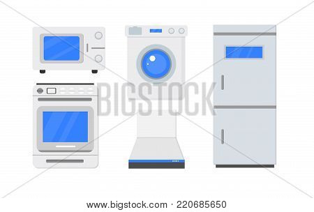 Set of household appliances on a white background. Element for web, culinary infographic, brochure, restaurant presentation.  Equipment housework. Front view, close-up. Flat vector illustration.
