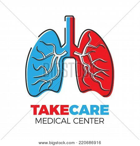 Pulmonary medical center logo. Vector illustration in flat style. Lungs with bronchi, symbolizing illness and health side to side. Isolated on white background.