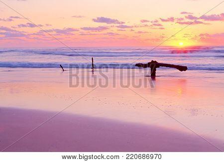 Sunrise at the Maheno Shipwreck on Fraser Island's 75 mile beach in Queensland, Australia