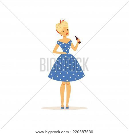 Beautiful young woman in a blue polka dot dress holding glass bottle of soda, girl dressed in retro style vector Illustration on a white background