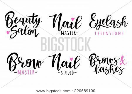 Vector illustration of a beauty set. For beauty salon, lash extensions maker, brow masters.