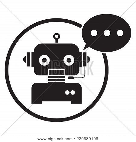 Chatbot mobile logo design on white background. Vector illustration Chatbots AI artificial intelligence technology concept.