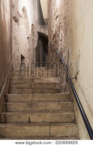 Tel Aviv-Yafo, Israel, December 01, 2017 : Alley of the sign of the zodiac Libra at night in on old city Yafo in Tel Aviv-Yafo in Israel