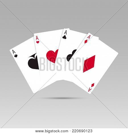 Vector illustration Playing Poker Cards. Four aces playing cards.