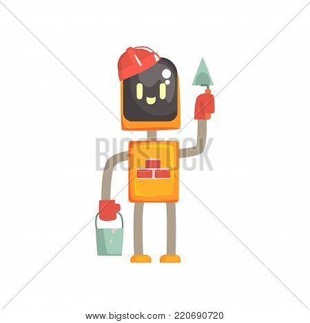 Robot buider character, android standing with trowel and bucket cartoon vector illustration isolated on a white background