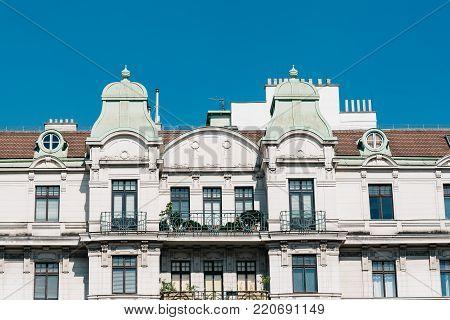 Vienna,  Austria - August 17, 2017: Old residential building in Linke Wienzeile street in Vienna