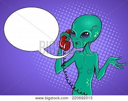 Alien speaking phone pop art retro vector illustration. Contact with extraterrestrial organisms metaphor. Comic book style imitation.