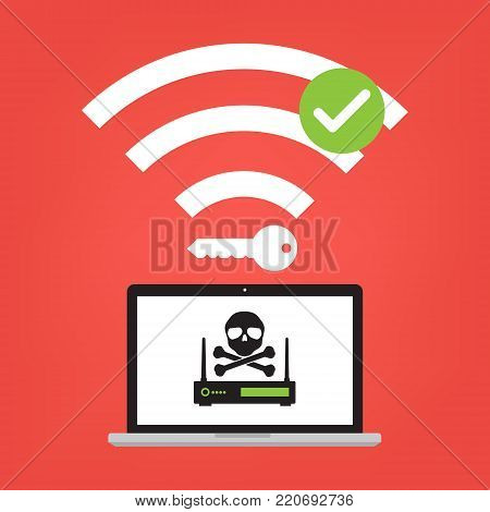 Hacker use KRACK method for steal important data with wifi hack on WPA2 key security. Vector illustration KRACK in wifi cyber security infographic concept.