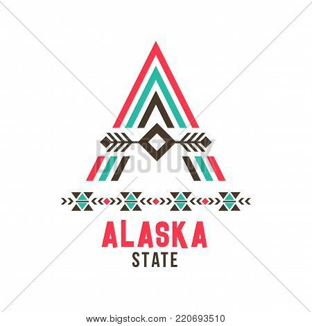 Alaska state ethnic logo. North America social, specific racial and cultural group design, unique A letter character and spirit of a northern Eskimo community. Vector illustration