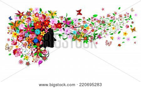 Silhouette of a woman's face among flowers and butterflies. Girl with flowers and butterflies.A girl with flowers and butterflies on her head and in her hair.