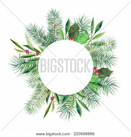 Christmas banner with round white space, firtree, holly and olive branch. Watercolor handdrawn illustration isolated on white background.