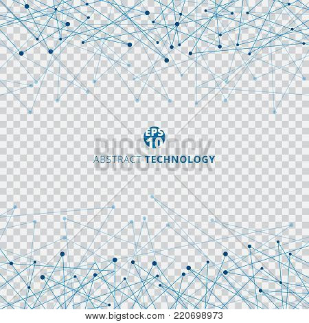 Abstract technology blue mesh with dots on transparent background. Techno design of future digital data. Vector illustration