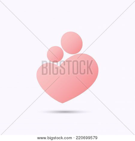 Simplified pink symbol of mother holding a baby in heart shape with heads, in stick figure style