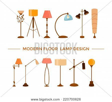 Set of colorful cartoon floor lamps light for home appliance indoor furniture. Vector flat collection of isolated interior design elements. Clipart for web, advertising, banners.