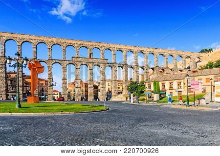 Segovia, Spain.Segovia at the ancient Roman aqueduct.