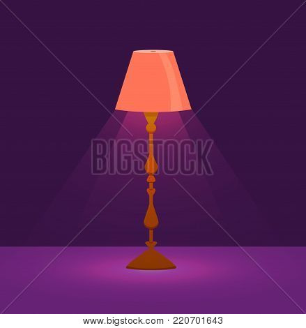 Colorful cartoon floor lamp light  icon for home appliance indoor furniture. Vector flat isolated interior design element. Clipart for web, advertising, banners.