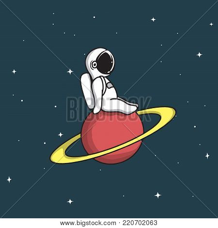 Cute astronaut sits and relax on saturn.Cartoon style.Childish vector illustration