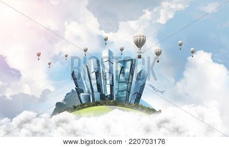 Green flying island among clouds with urban view of towers and skyscrapers. Flying aerostates and blue cloudy skyscape on background. 3D rendering. poster
