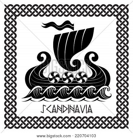 Viking Drakkar. Drakkar ship sailing on the stormy sea, vector illustration, isolated on white