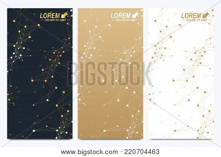 Modern set of vector flyers. Geometric abstract presentation. Molecule and communication background for medicine, science, technology, chemistry. Cybernetic dots. Lines plexus. Card surface