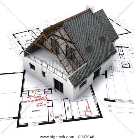 House On Blueprints With Notes And Corrections