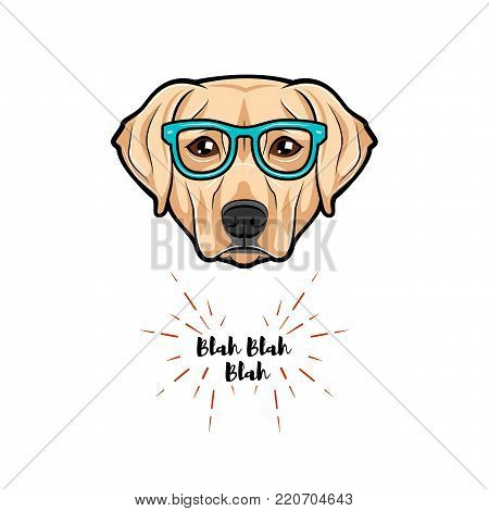 Vector images of Cute portrait of nerdy dog labrador wearing glasses isolated on white background