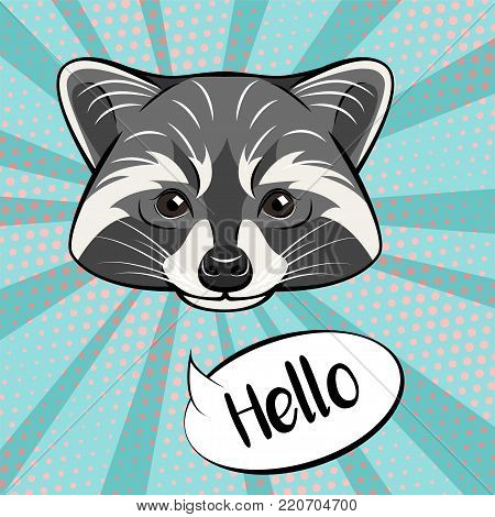 Cute raccoon character showing greeting gesture, saying hello, cartoon illustration isolated on color background.