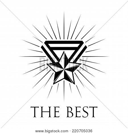 Award icon or logo in vintage style. High quality black badge. Vector illustration on a white background.