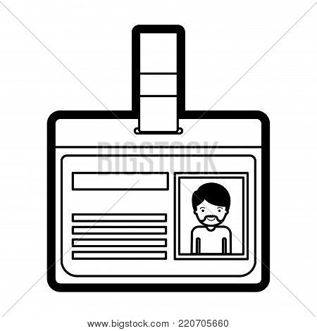 identification card with half body man picture with short hair and van dyke beard in black silhouette with thick contour vector illustration