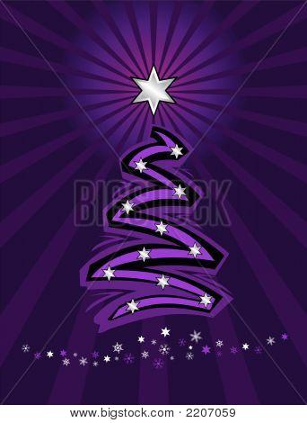 Purple Stylized Christmas Tree.Eps