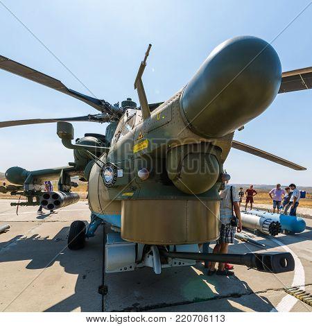 KADAMOVSKIY TRAINING GROUND, ROSTOV REGION, RUSSIA, 26 AUGUST 2017: International military technical forum «ARMY-2017». Attack helicopter