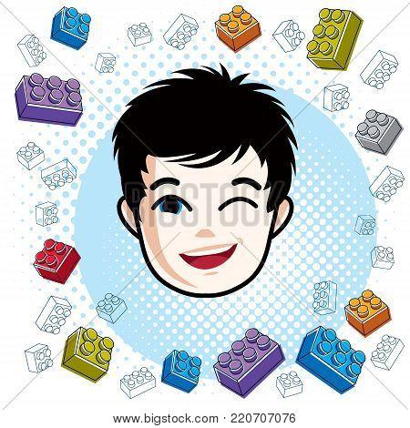 Boy face, vector human head illustration. Brunet kid winking.