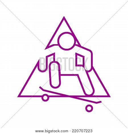 Skateboard Ollie Sport Outline Figure Symbol Vector Illustration Graphic Design