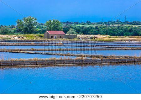 Amazing landscape in Nin town, salty fields tourist attraction, Dalmatia region in Croatia.